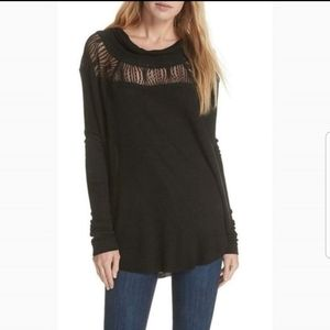 Free People Spring Valley Black Tunic Top